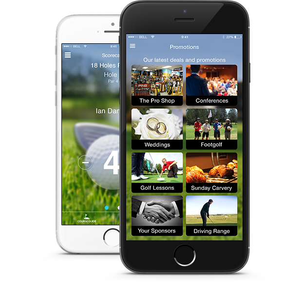 coursemate smart golf club app promotion and scorecard