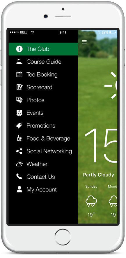 coursemate smart golf club app main menu