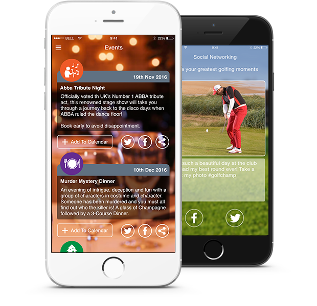 coursemate smart golf club app events and social media